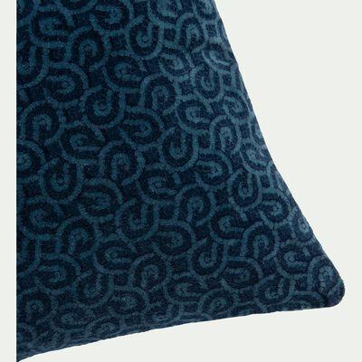 Coussin en velours de coton bleu à motif-MOSAIQUE