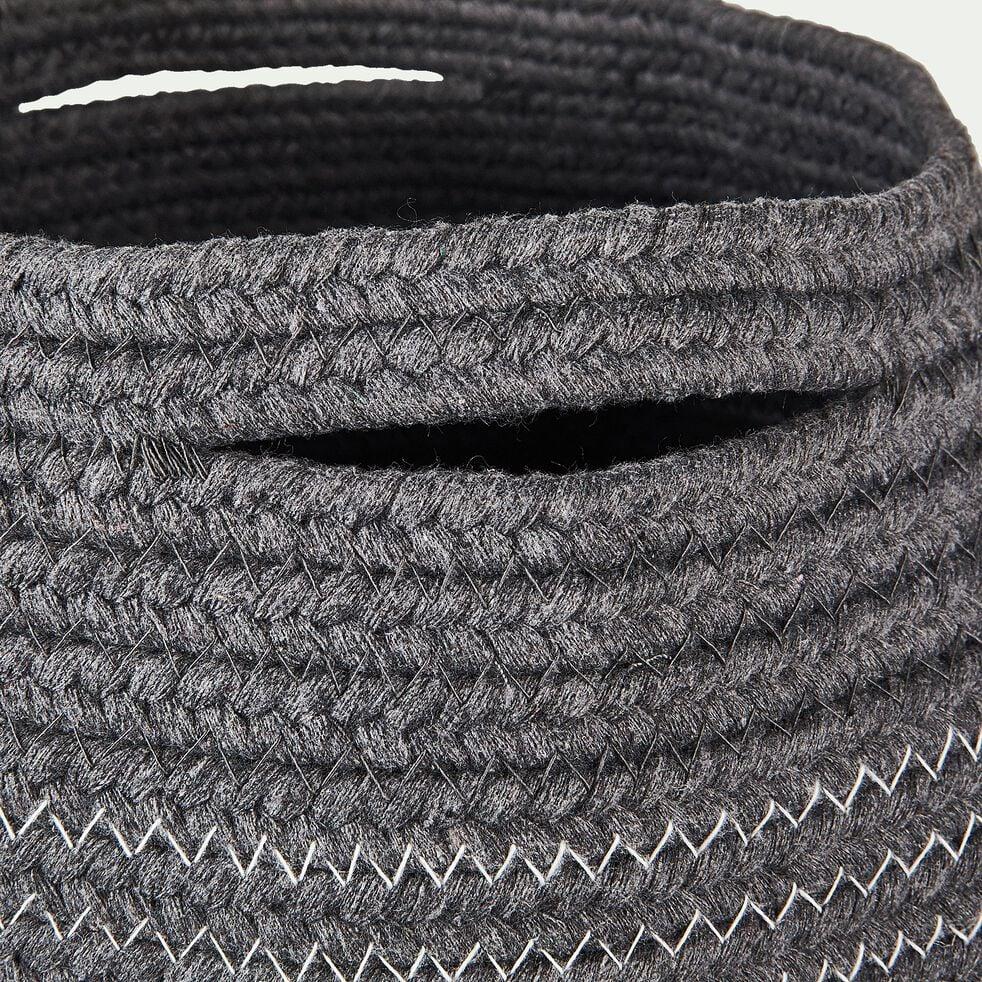 Panier déco en polycoton - gris H23xD21cm-Willy