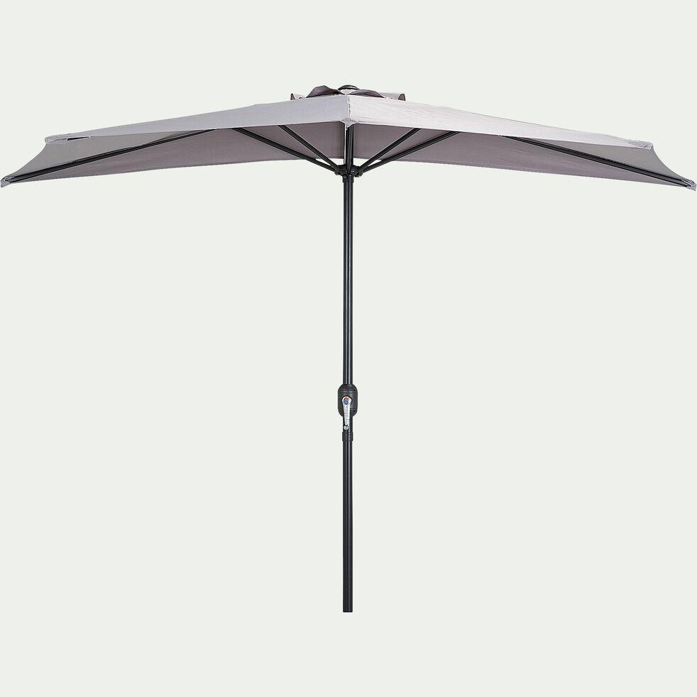 Demi-parasol avec manivelle - gris vésuve (grand modèle)-MONGEDO