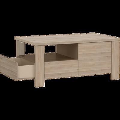 Table basse coloris bois blanchi 2 tiroirs-SHA PIN