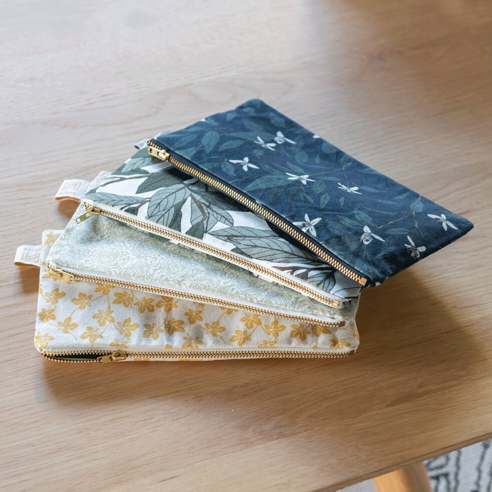 Pochette en coton motif Fleur d'oranger - bleu 12x23cm-ORANGER