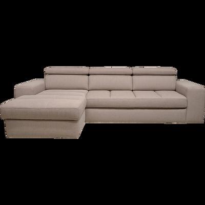 Canapé d'angle gauche convertible en tissu grège-TONIN