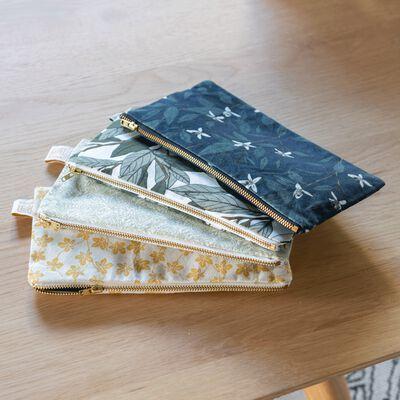 Pochette en coton motif Amande - beige 12x23cm-AMANDE