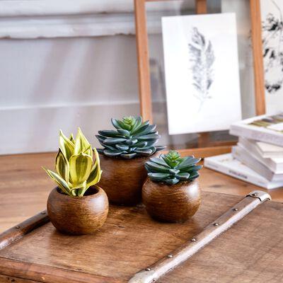 Succulente artificielle en pot - vert H15cm-SUCCULENTE