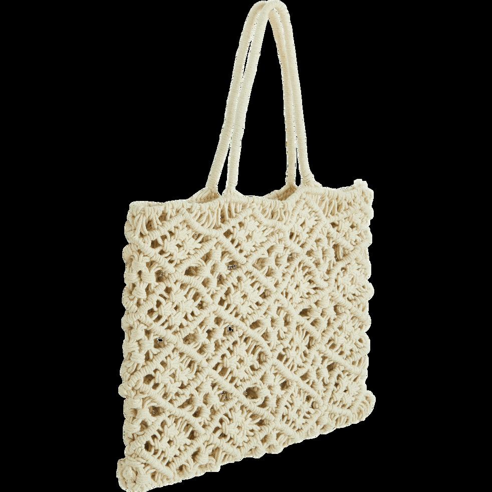 Sac en crochet 100% coton Beige - 30x40 cm-SUZANI