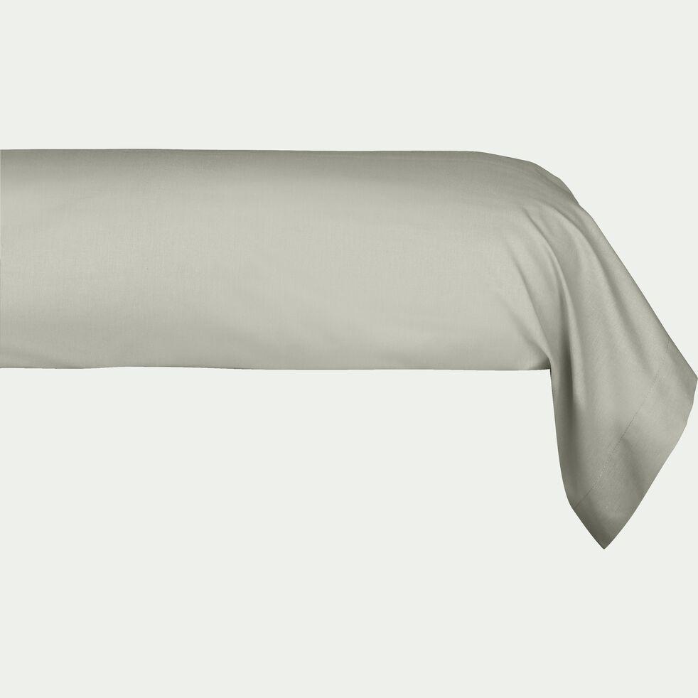Taie de traversin en percale de coton - vert olivier 43x190cm-FLORE