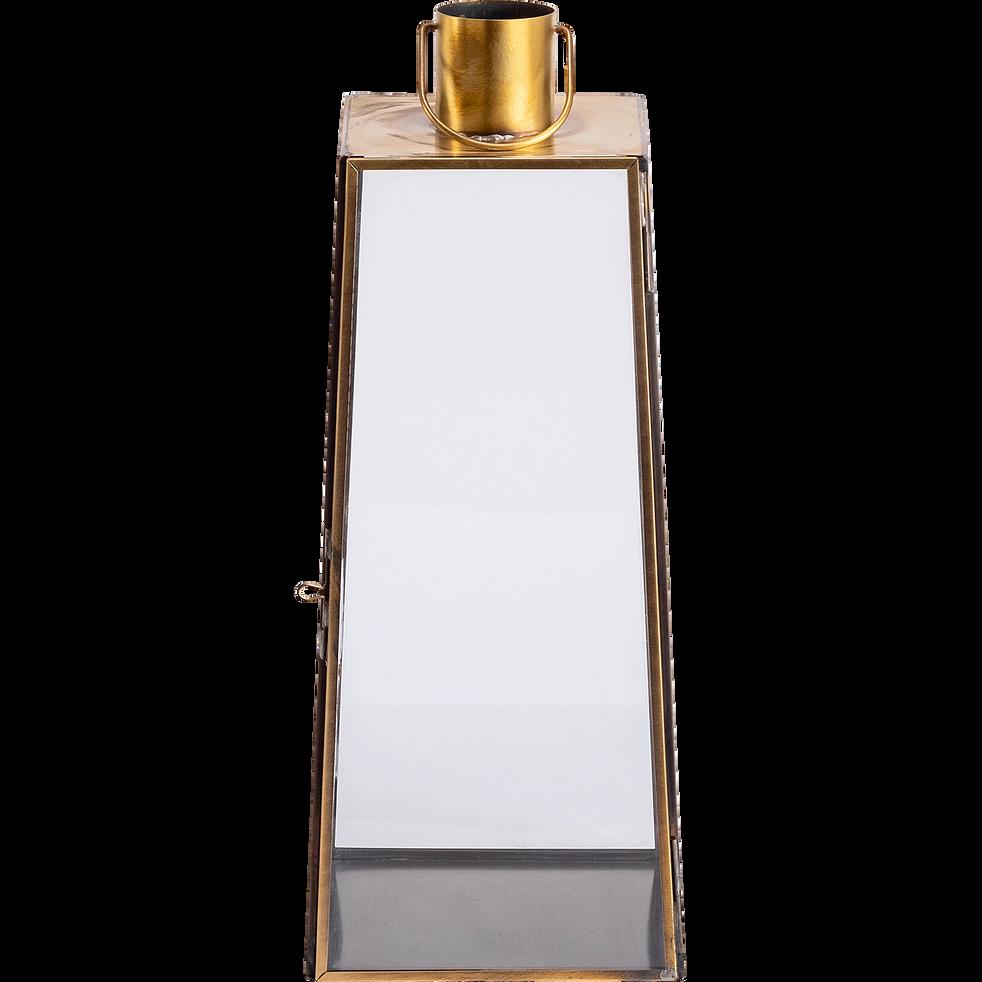 Lanterne en métal et verre - doré - H42cm-GINA