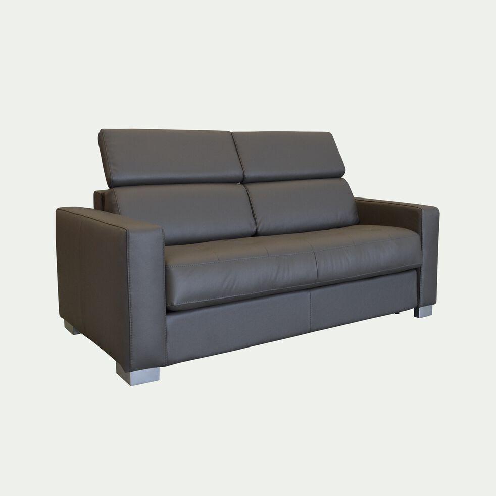 Canapé 2 places fixe en cuir avec accoudoir 15cm - taupe-MAURO