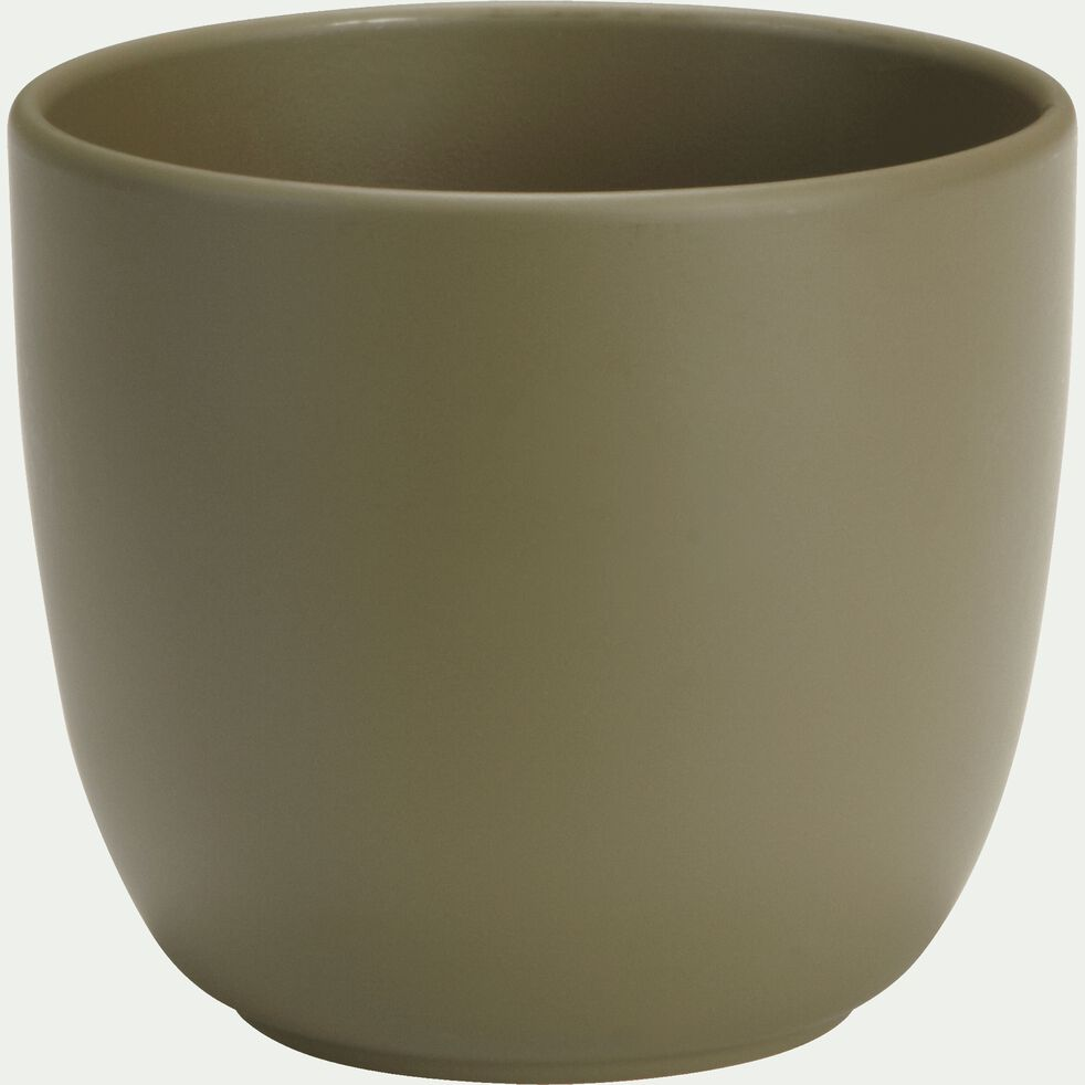Pot vert cèdre mat en céramique - H14xD14,5cm-TUSCA