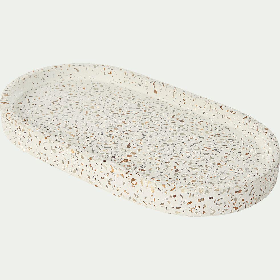 Porte-savon en terrazzo - blanc L22,3cm-TERRAIO