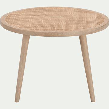 Table basse ronde en manguier et cannage en rotin-ECUEIL