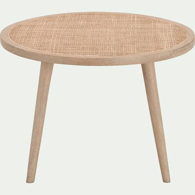 Table basse ronde en manguier et cannage en rotin-ECUEIL