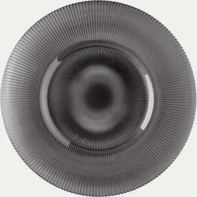 Assiette de présentation en verre strié gris D35cm-SPLENDIDE