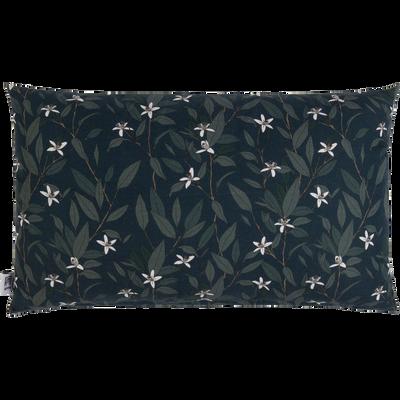 Coussin en coton imprimé floral vert 30x50cm-ORANGER