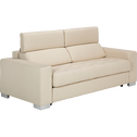 Canapé 3 places fixe en tissu beige-Mauro