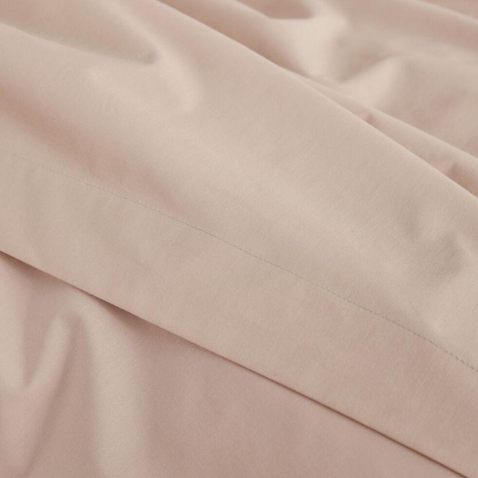 Drap plat en percale de coton - rose argile 270x300cm-FLORE