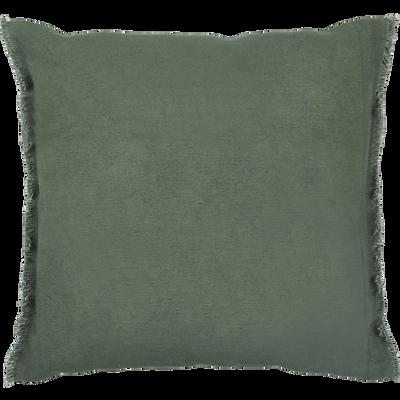 Coussin à franges en coton vert cèdre 40x40cm-VENCE