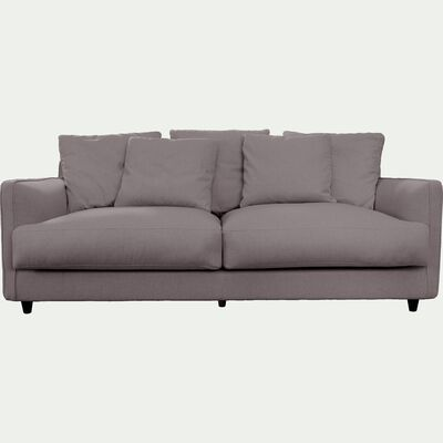 Canapé 3 places fixe en tissu gris borie-LENITA