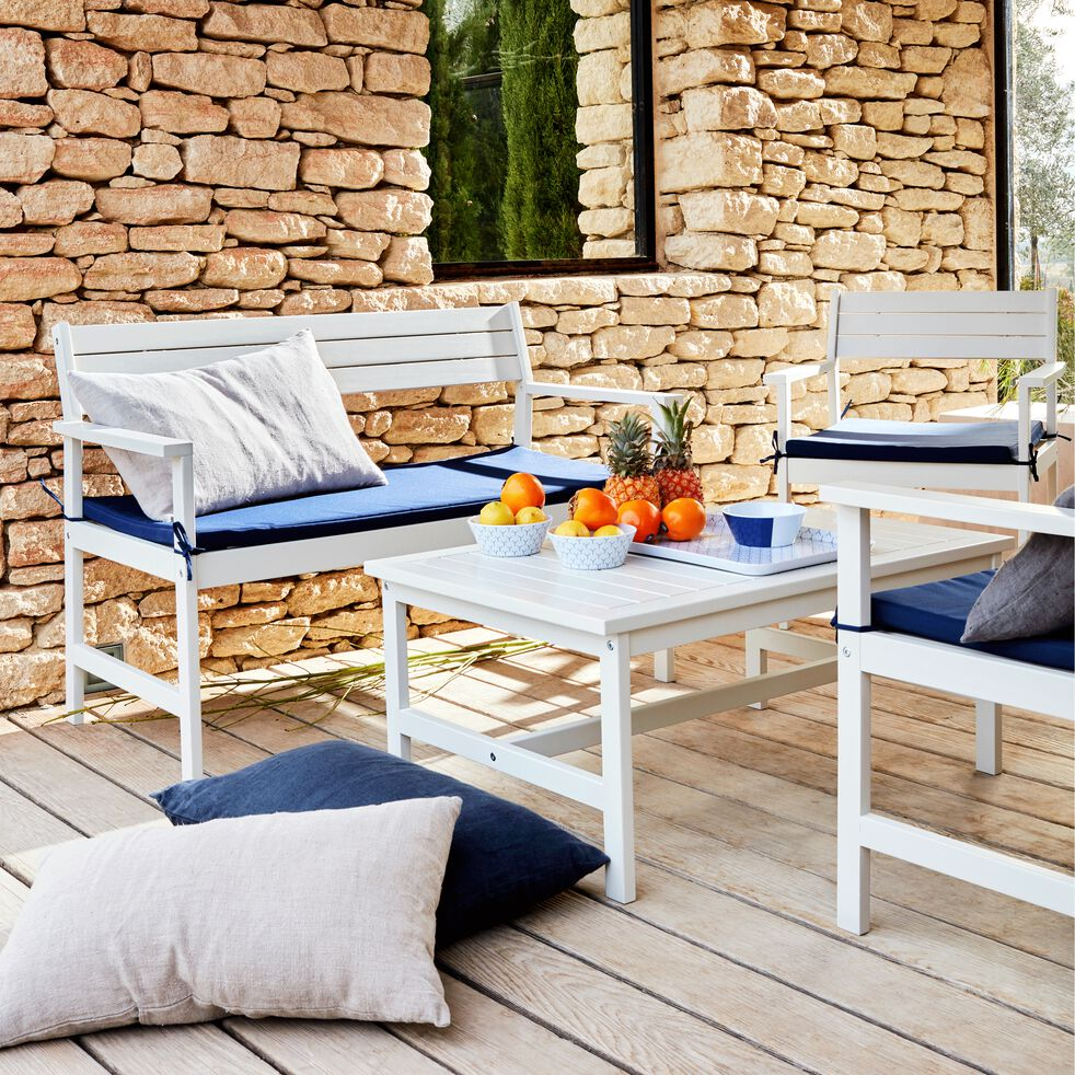 Fauteuil de jardin en acacia avec accoudoirs blanc-DOMINO