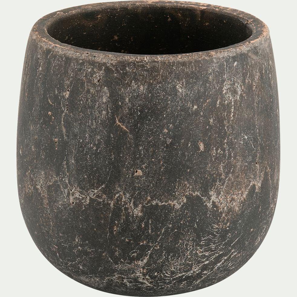 Cache-pot en ciment noir H15xD15 cm-BARI