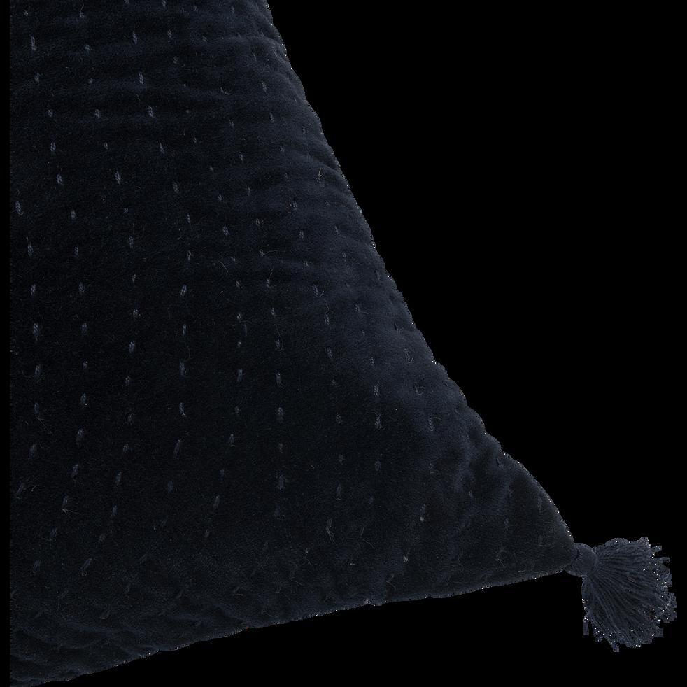 Coussin à motif spirale et pompons en velours gris calabrun 40x40cm-GIANG
