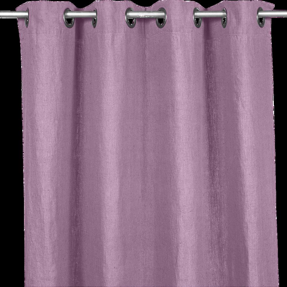 Rideau à oeillets en lin lavé coloris prune 140x280cm-ST TROPEZ