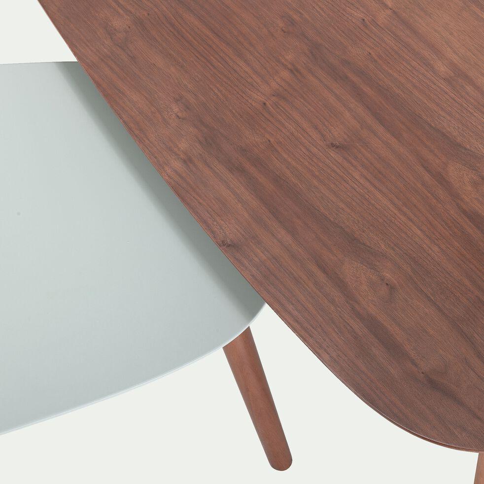 Ensemble de 2 tables basses plaquée noyer - vert olivier-BAIE