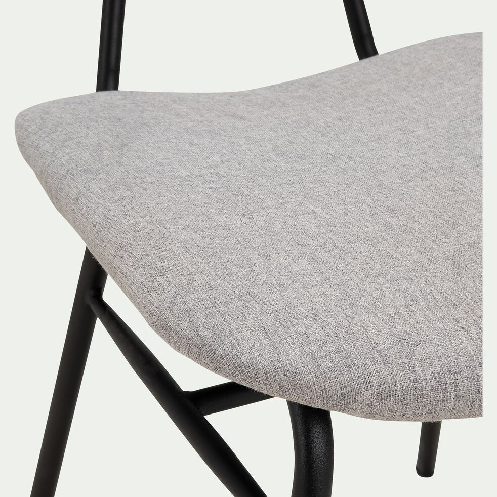 Chaise en bois de frêne et tissu - gris-LORA