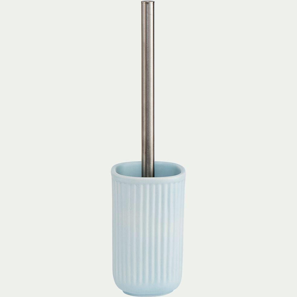 Brosse et porte-brosse wc en céramique striée - bleu amandier-NANS