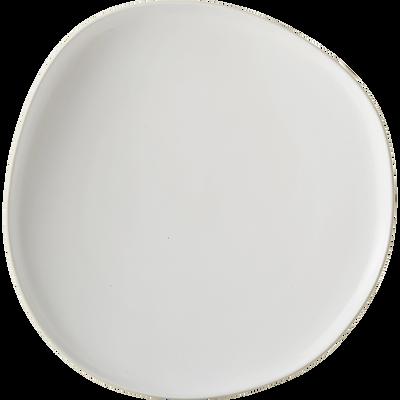 Assiette à dessert en grès blanc ventoux D21cm-KYMA