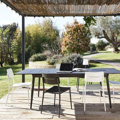 Ensemble table extensible et chaise de jardin en aluminium - noir