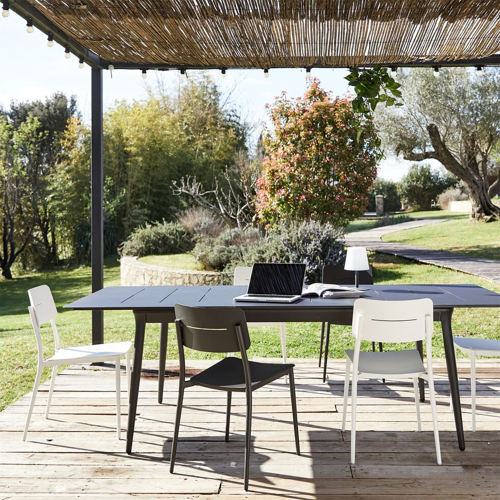 Table de jardin extensible en aluminium - noir (4 à 8 places)-SOLENA