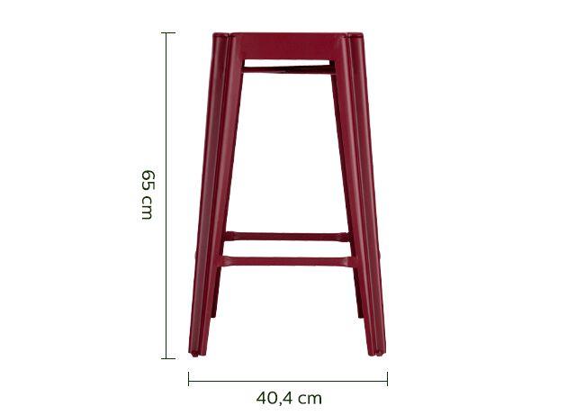 Tabouret de bar en métal rouge sumac - H65cm-TRIVIA