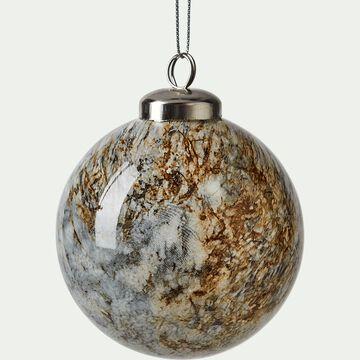 Boule de Noël en verre marbré D8cm-ANTIN