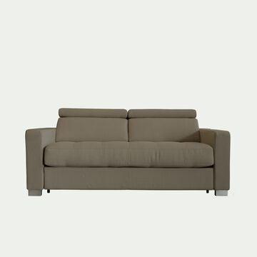 Canapé 2 places convertible en tissu avec accoudoir 15cm - taupe-MAURO