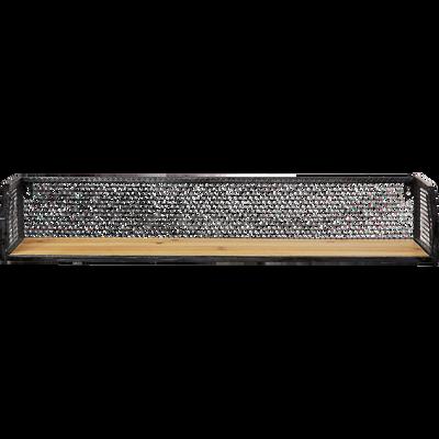 Étagère murale grillagée en bois et métal noir L67cm-FIR