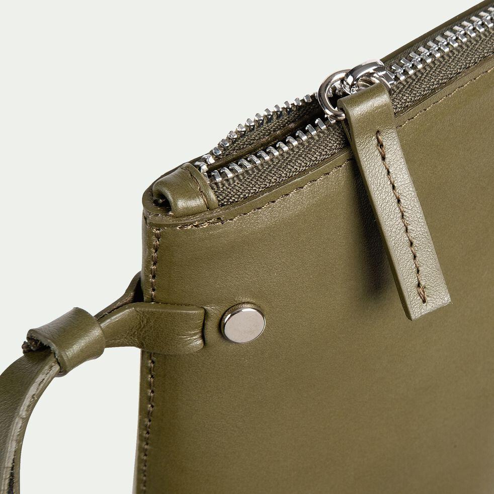 Pochette en cuir - vert cèdre 15,5x24,5cm-EUGENIE