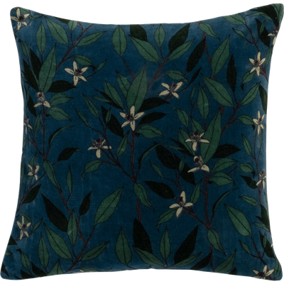 Coussin en velours imprimé floral vert 40x40cm-ORANGER