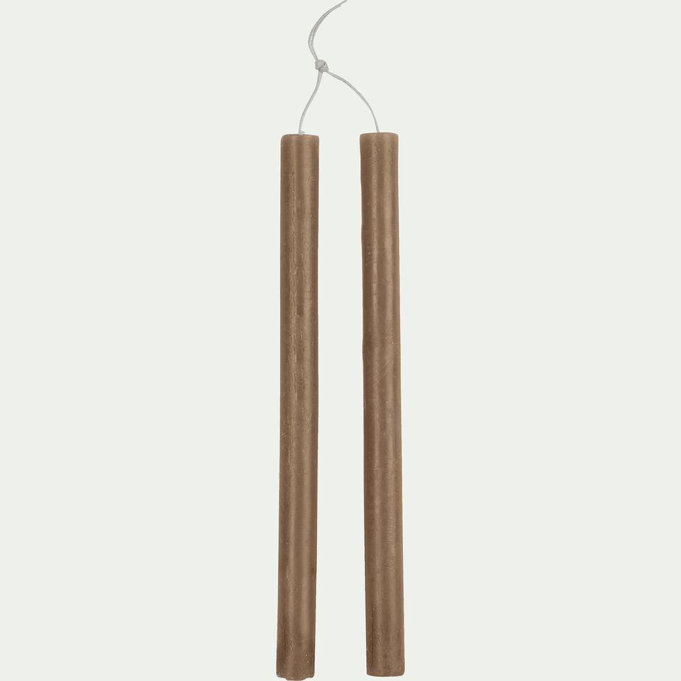 Bougie duo de flambeaux brun albe D2xH30cm-BEJAIA