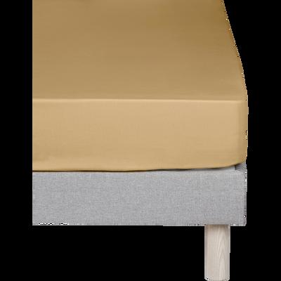 Drap housse en coton Beige nèfle 140x200cm -bonnet 30cm-CALANQUES