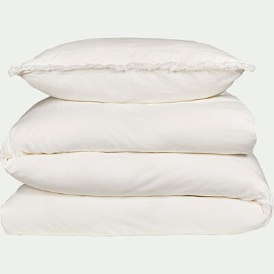 Housse de couette en lin et coton blanc 240x220cm et 2 taies d'oreillers-ASMAA