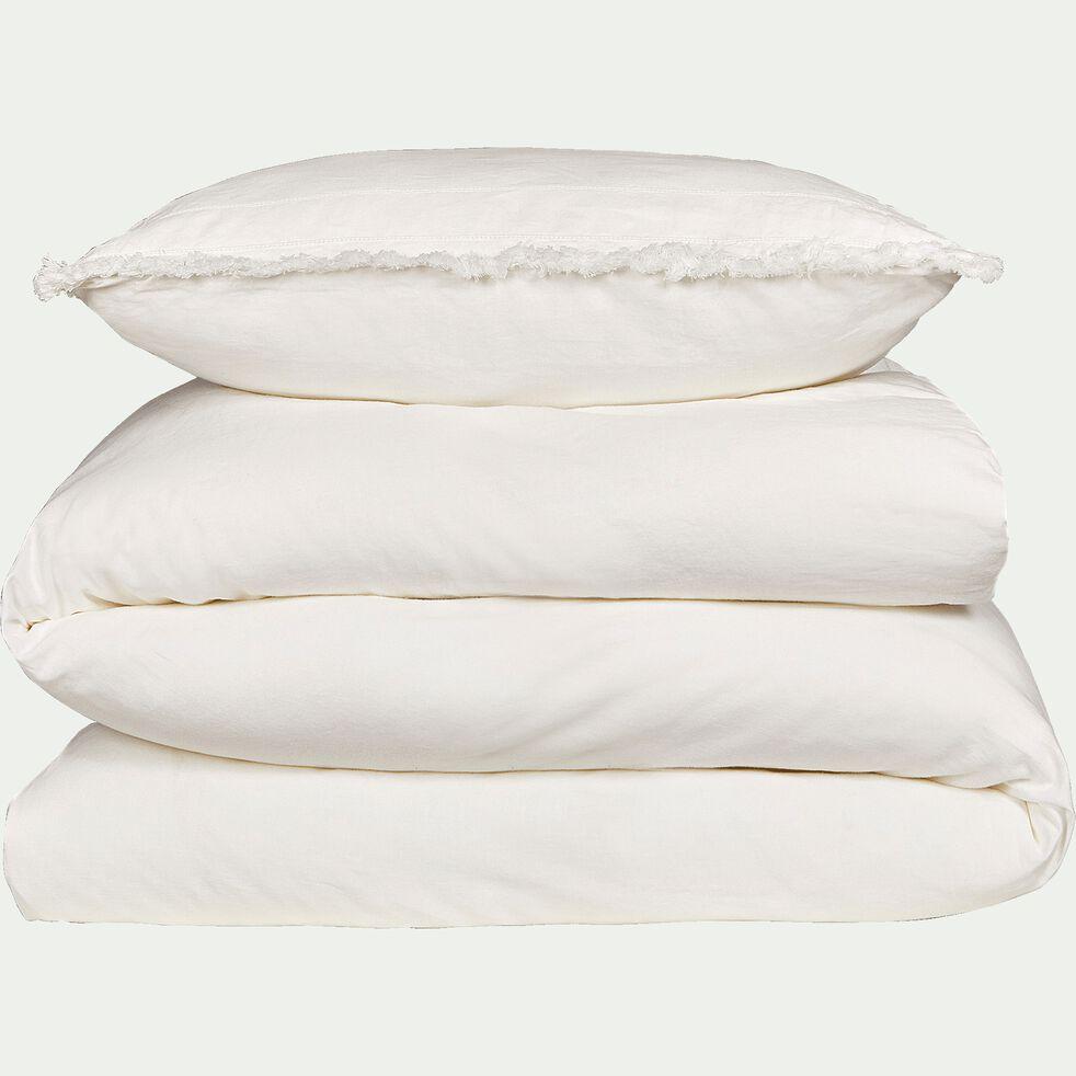 Housse de couette et 2 taies d'oreiller en lin et coton - blanc 240x220cm-ASMAA
