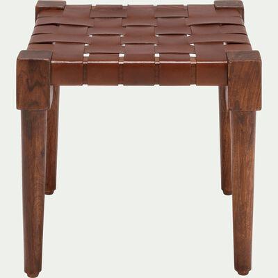 Pouf en bois carré brun ombre-DELES