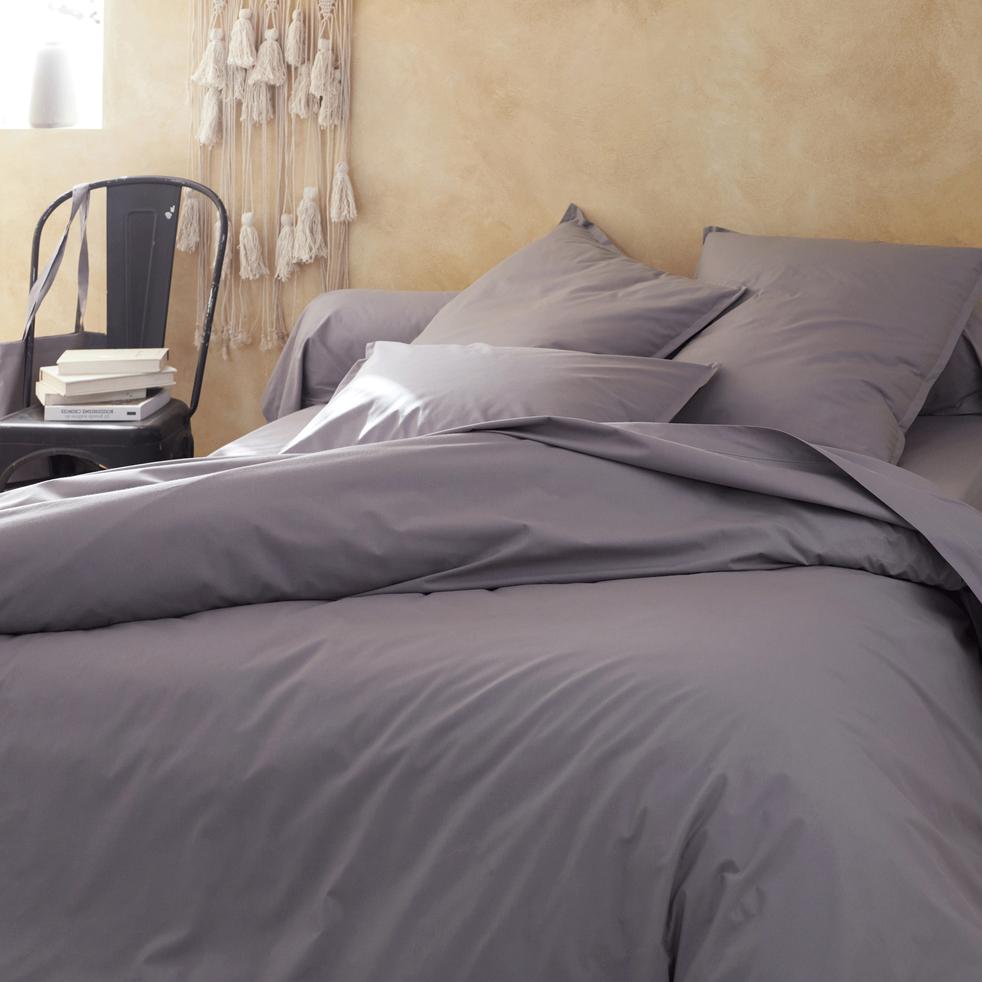 drap plat en percale de coton 270x300 cm gris restanque flore 270x300 cm la s lection. Black Bedroom Furniture Sets. Home Design Ideas
