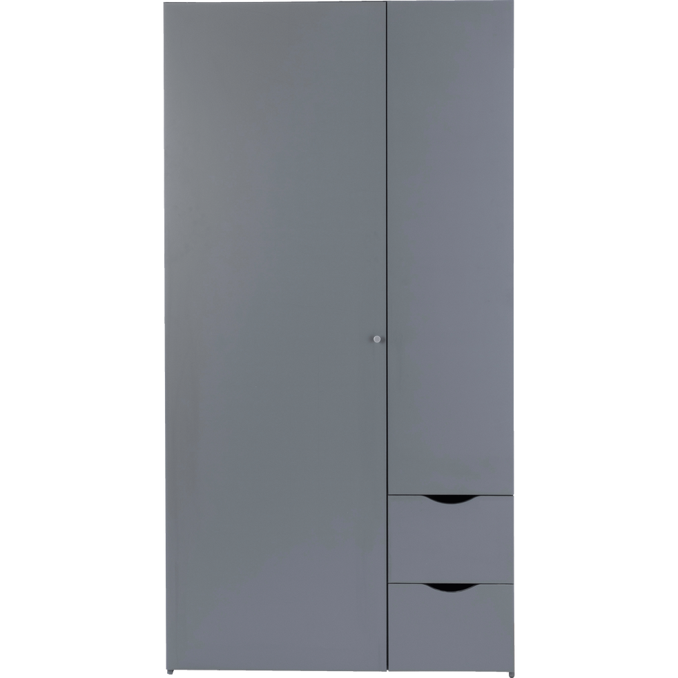 Armoire 2 Protes Et 2 Tiroirs Gris Anthracite Colin Armoires