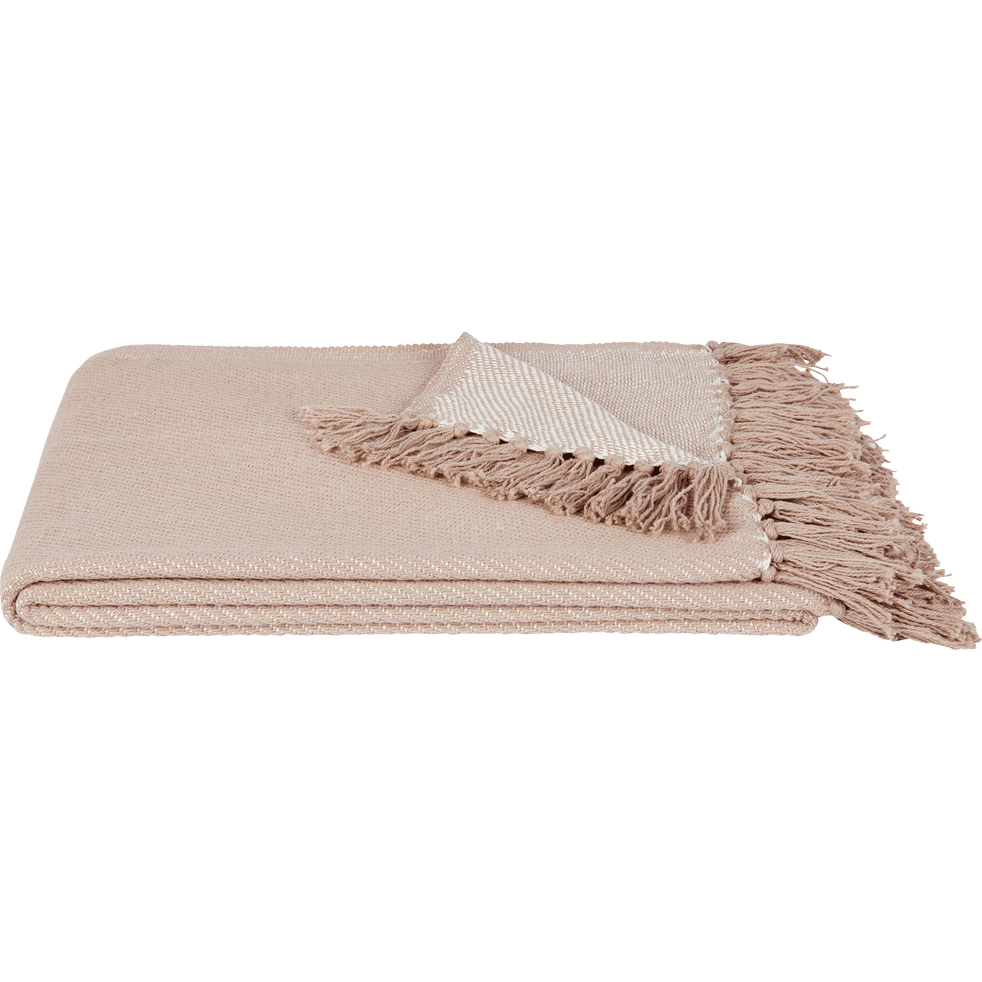 Plaid à franges en coton tissé rose argile 130x170cm-SEVILLE