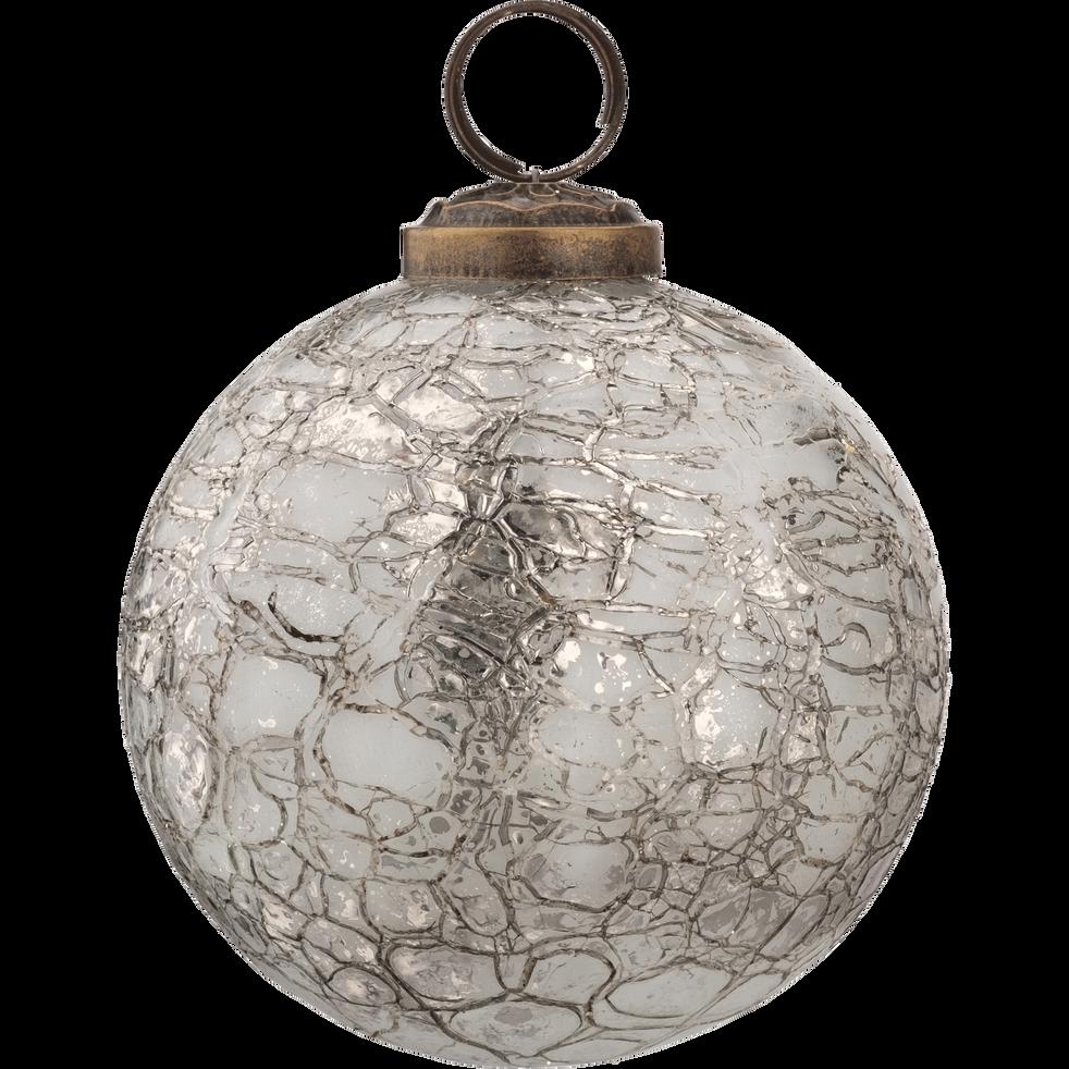 Boule de Noël en verre argent D7,5cm-DINH