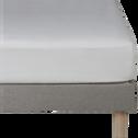 Drap housse en lin Blanc capelan 180x200cm bonnet 28cm-VENCE