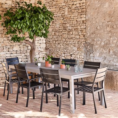 Table de jardin extensible en aluminium - gris vésuve (10 à 12 places)-Jaco