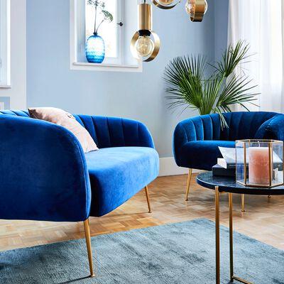 Canapé 2 places fixe en velours bleu myrte-ALCEA